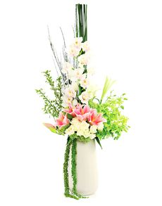 Gift Ideas - Easter Flowers: Flower Vase - Rose and Lily Mix! Easter Flowers, Mothers Day Flowers, Flowers Singapore, Order Flowers Online, Amazing Flowers, Flower Vases, Glass Vase, Lily, Gift Ideas