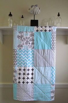 Modern Baby Quilt   Bicycles  Gender Neutral by FernLeslieBaby, $98.00