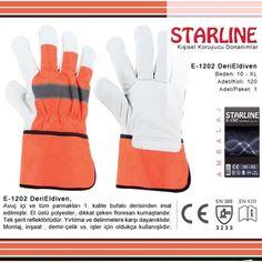 Eldiven  Starline'ın florasan renkte ki reflektörlü bufalo derisinden yapılmış eldivenini denemeye ne dersiniz? Protective Gloves