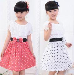 New girls dresses Baby Kids Children's Lovely princess Splicing Polka Dots Dress,knit chiffon dress girl party,elegant dress US $25.98