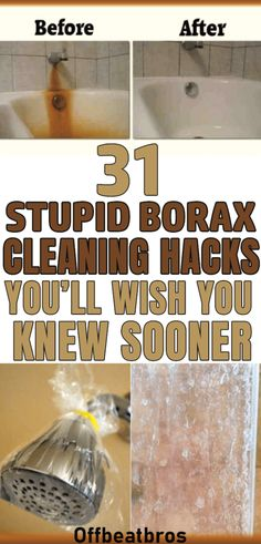30 Genius Borax Cleaning Hacks for a Clean HomeAn amazing cleaner - borax. Borax is a great natural cleaner for home with so many amazing cleaning hacks it has. Cleaning tips for borax are so Borax Cleaning, Bathroom Cleaning Hacks, Household Cleaning Tips, Toilet Cleaning, House Cleaning Tips, Spring Cleaning, Cleaning Checklist, Cleaning Diy, Clean House Tips