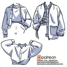 Drawing Reference Poses, Drawing Poses, Drawing Tips, Shirt Drawing, Jacket Drawing, Shirt Sketch, Drawing Anime Clothes, Drawings Of Clothes, Clothes Design Drawing