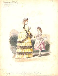 Toilettes de Madame Alexandre Ghys - Modes N°25 - couturière en activité de 1858 à 1878 - MAS Estampes Anciennes - Antique Prints since 1898