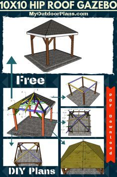 Super Simple Plans For You To Build A Wooden Gazebo With Roof For Your Backyard This Gazebo Is Built On A Concrete Floor Diy Gazebo Wooden Gazebo Gazebo Roof
