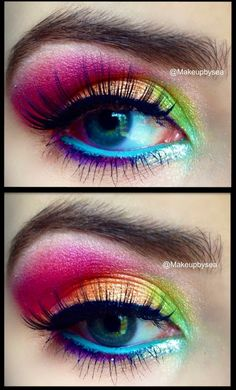 One of the coolest rainbow eyeshadow looks I have seen.