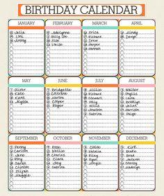 Birthday Calendar - Calendar Template   Free & Premium Templates