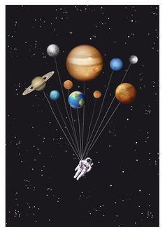 Items similar to Space traveller - funny astronaut solar system ballons - Wall art astronomy digital print scifi galaxy solar system geek planets art poster on Etsy Solar System Wallpaper, Galaxy Solar System, Solar System Poster, Poster Prints, Art Prints, Galaxy Wallpaper, Jupiter Wallpaper, Cute Wallpapers, Digital Prints
