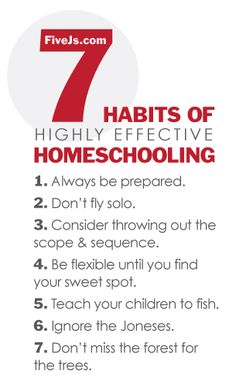 7-habits-of-highly-effective-homeschooling  1. Always be prepared  2. Don't fly solo  3. Consider throwing out the scope & sequence  4. Be flexible until you find your sweet spot  5. Teach your children to fish  6. Ignore the Joneses  7. Don't miss the forest for the trees