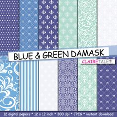 Damask digital paper BLUE & GREEN DAMASK with blue by ClaireTALE, $4.80