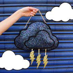 Glitter Storm Cloud Clutch Handbag by LunaontheMoon on Etsy