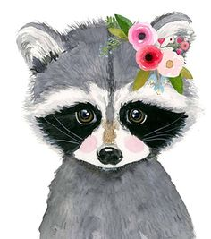 Woodland nursery nursery print set of 3 raccoon painting