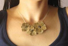 scrap fabric leather pendant necklace
