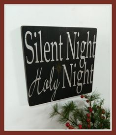 Items similar to Christmas sign, Silent Night, Holy Night silver,black and gold, Elegant Christmas decor on Etsy Christmas Alone, My First Christmas, Silver Christmas, Christmas Quotes, Christmas Signs, Christmas Holidays, Elegant Christmas, Merry Christmas, Christmas Ideas