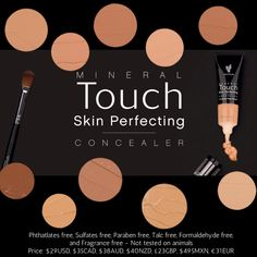 Younique Touch Mineral Skin Perfecting Concealer. ALL Younique Beauty & Skin Care products are NATURALLY BASED! These concealers are GLUTEN FREE / SOY FREE / PARABEN FREE / LATEX FREE / PABA FREE / BPA FREE. Plus Younique does NOT Test their products on animals! Get your Younique here 100% satisfaction guaranteed! www.BlackLashesRedChucks.com