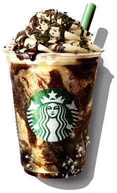 Chocolate Crunch Frappuccino. What it is: Basically, it's a nutty, chocolate overload that gives you a jolt of caffeine as a bonus — coffee Frappuccino blended with chocolate sauce, cacao nibs, crushed biscotti, and almonds, and crowned with coffee-infused whipped cream.  Where to find it: Japan