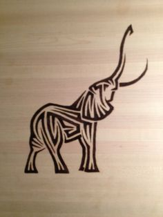 Tribal Elephant wood burning art