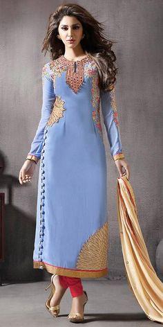Blue With Mirror Work Incredible Salwar Kameez.