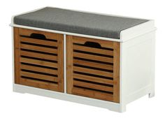 Small Foyer Bench Seat With Two Storage Drawers Hallway Shoe Cabinet