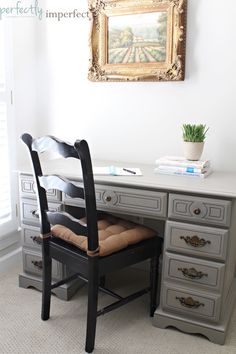 Desk repainted with chalk paint   PERFECTLY IMPERFECT   CHALK PAINT   CHALK PAINT COLORS   HOW TO PAINT FURNITURE