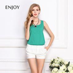 2$ Tank Cute Candy Color Chiffon Women Blouses Tropical Tops Cheap Clothes China Ropa Mujer Camisas Blusas Femininas 2015