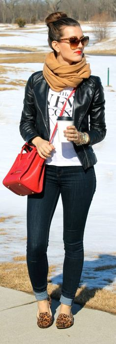white graphic shirt, black leather jacket, skinny jeans, leopard loafers, camel khaki infinity scarf and red purse