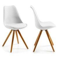 2x Chaises Design Ralf Wood Moderne Blanc Bois Salle A Manger Meubles