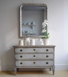 COTE DE TEXAS. French Grey Gustavian chest of drawers Something similar to sit right side of chimney breast