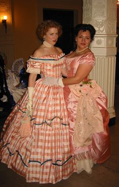 ? and Veronica's peach Victorian gowns