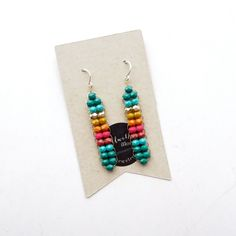 Tribal Earrings // Seed Bead Jewelry // Turquoise Earrings // Woven Jewelry // Festival Earrings // Statement Earrings // Made in Montana by bellwetherblonde on Etsy