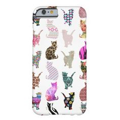 Girly Whimsical Cats aztec floral stripes pattern iPhone 6 Case Because nobody, not even the crazy cat lady, can have too many cats... On their phone.