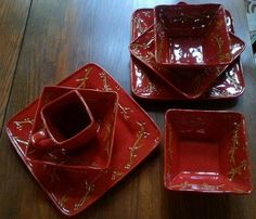 Target Home Winterberry Dinner Red Salad Plate Bowl Mug Holiday Christmas Square