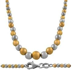 14 Karat Pink & White Gold Graduated Bead Ball Chain Necklace. #necklace #jewelry