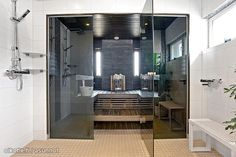 Gray-walled sauna / Harmaaseinäinen sauna Sauna Ideas, Spa, Saunas, Dream Rooms, Master Bath, Bathroom Ideas, Bathrooms, Kitchens, Interior Decorating