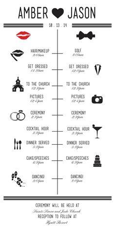 Printable Wedding Itinerary Reception TimelineReception