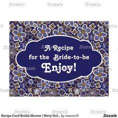 Recipe Card Bridal Shower | Navy Gold Floral