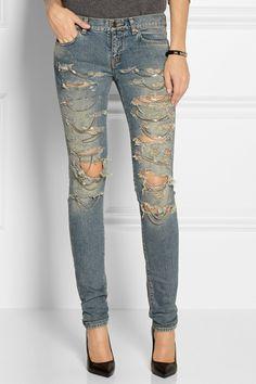 St Laurent Shredded Chain Jeans