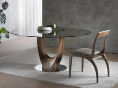 AXIS round glass table with walnut and chromed steel base. Round Glass Table Top, Tempered Glass Table Top, Glass Round Dining Table, Dining Room Table, Dining Chairs, Stone Coffee Table, Coffee Table Design, Wood Furniture Living Room, Table Furniture