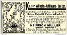 Original-Werbung/ Anzeige 1897 - KAISER-WILHELM - JUBILÄUMS-DECKEN / HEINRICH MÜLLER - MÜNCHEN  - ca. 90 x 50 mm