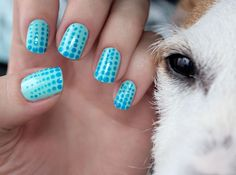 Nails: Blue dots and a dog