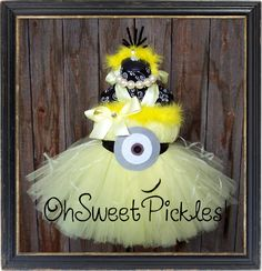 Deluxe - 1 in a MINION - DESPICABLE ME Inspired - Halloween Costume Tutu Dress & Headband - Sizes 0, 3, 6, 9, 12, 18, 24 Mos, 2t, 3t, 4t, 5t