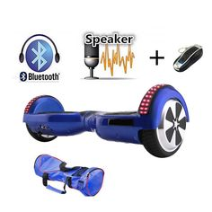 Blue 6.5 inch Self Balancing Hoverboard With Bluetooth Speaker LED Lights Remote