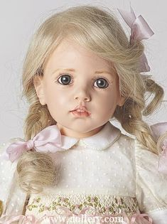 "Katja by H. Gunzel Oh My Gosh!@ What a lovely Doll  !@ She looks as if to say, ""Please can we get that doggie in the widow"" :)"
