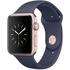 Apple Watch Series 2 42mm Rose Gold Aluminum Case with Midnight Blue... ($399) ❤ liked on Polyvore featuring jewelry, watches, rose gold, pink gold watches, sports watches, sport watches, rose gold jewelry and heart shaped watches