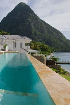 Stunning views of the twin peaks in St Lucia at the Sugar Beach hotel