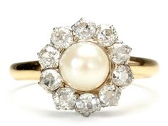 """Why yes, I do like the idea of a pearl wedding ring, and yes, I realize that yellow gold isn't """"in"""" right now."""
