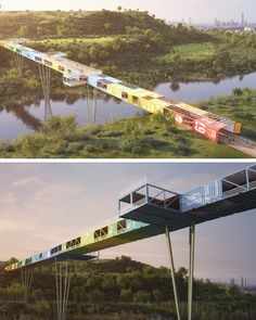The World's First Shipping Container Bridge by Yoav Messer Architects Amazing Architecture, Landscape Architecture, Architecture Design, Landscape Elements, Landscape Design, Masterplan Architecture, Container Architecture, Bridge Design, Pedestrian Bridge
