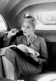 Kim Novak on the set of 'Vertigo', 1958.