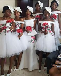 afrikanische kleider Simple off the shoulder short Bridesmaid Dresses. Processing time business days after African Bridesmaid Dresses, Patterned Bridesmaid Dresses, Country Bridesmaid Dresses, Bridal Dresses, Bridesmaid Gowns, Nigerian Wedding Dress, African Wedding Dress, Nigerian Weddings, African Traditional Wedding