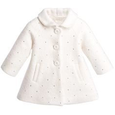 Monnalisa Baby Girls Ivory Wool Coat with Diamantes at Childrensalon.com
