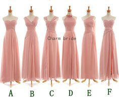 Various styles of pearl pink chiffon bridesmaid by Charmbride, $89.00 except light blue instead of pink